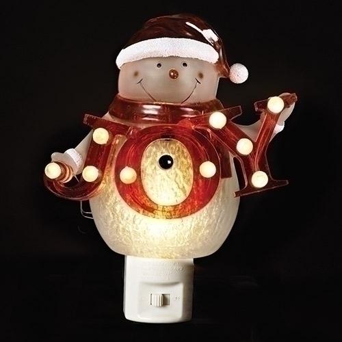 snowman with joy sign night light
